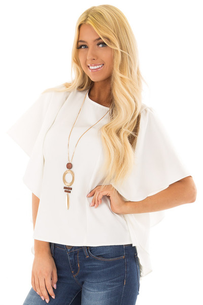 Ivory Ruffle Blouse with Back Zipper Closure front close up