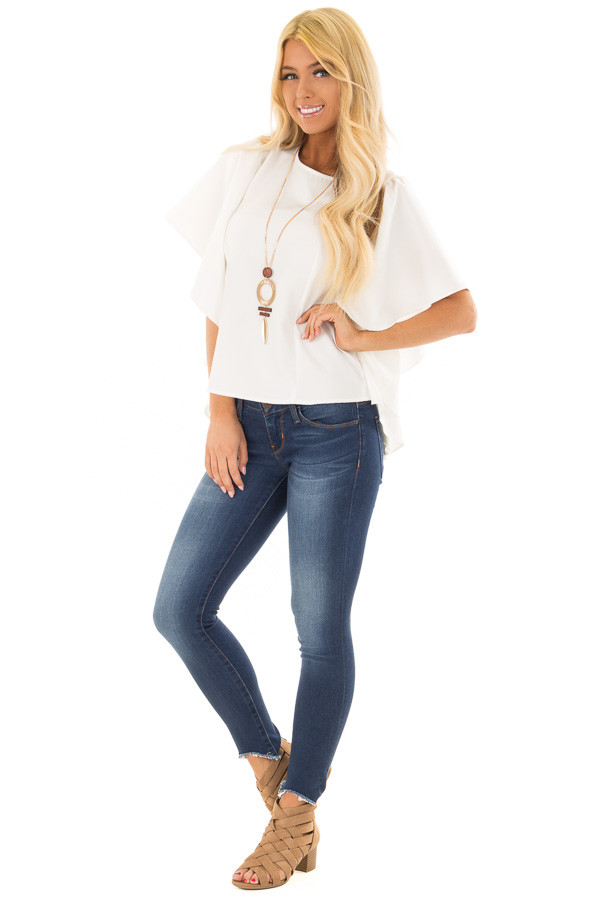 Ivory Ruffle Blouse with Back Zipper Closure front full body