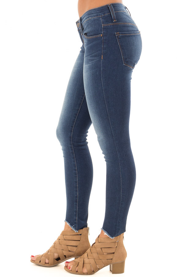 Dark Wash Skinny Jeans with Rounded Distressed Hem side view