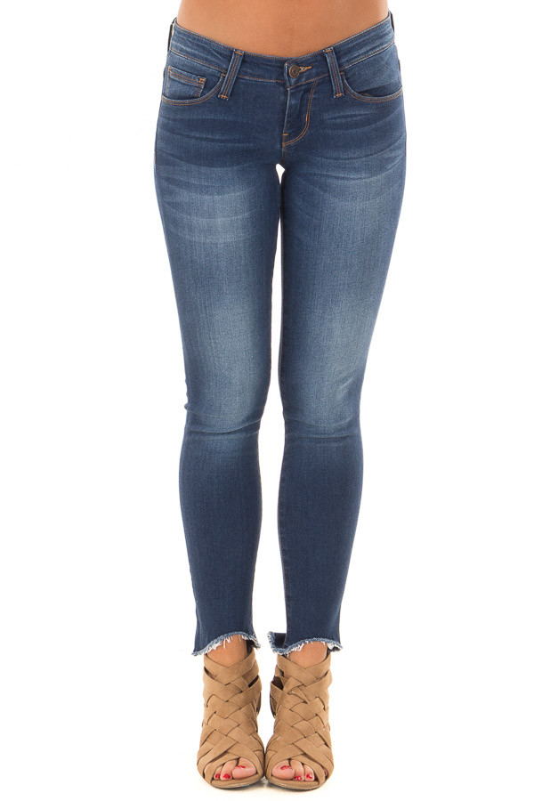 Dark Wash Skinny Jeans with Rounded Distressed Hem front view