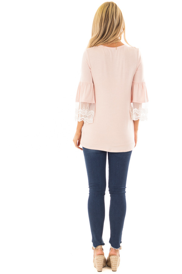 Light Pink Bell Sleeve Top with Sheer Lace Contrast back full body