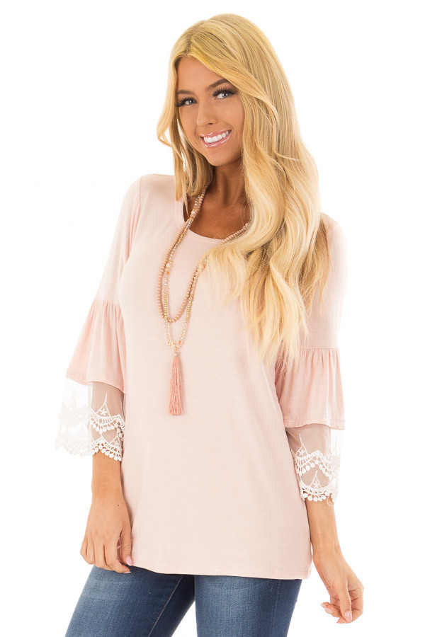 Light Pink Bell Sleeve Top with Sheer Lace Contrast front close up