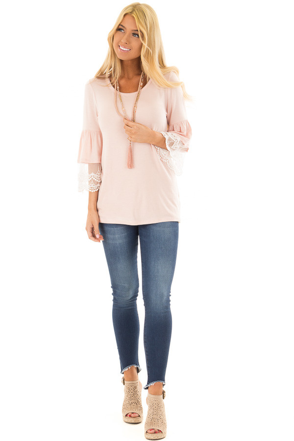 Light Pink Bell Sleeve Top with Sheer Lace Contrast front full body