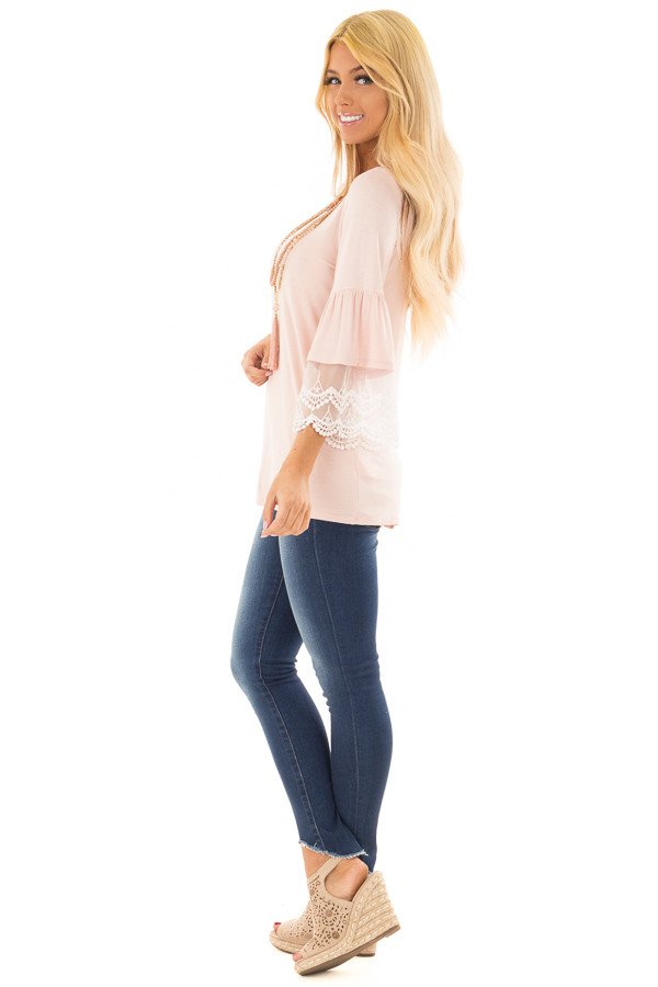 Light Pink Bell Sleeve Top with Sheer Lace Contrast side full body