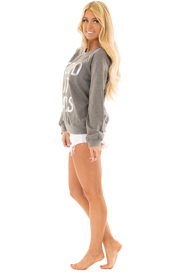 Heather Grey 'Good at Naps' Long Sleeve Sweater side full body