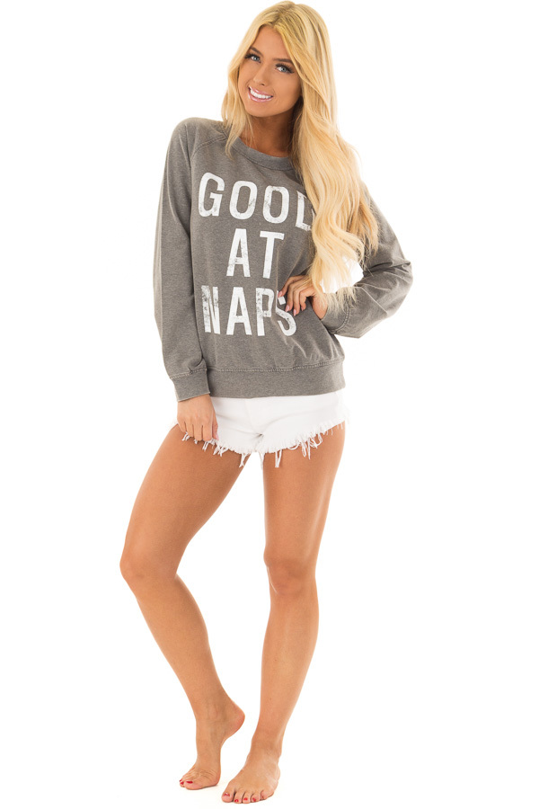 Heather Grey 'Good at Naps' Long Sleeve Sweater front full body