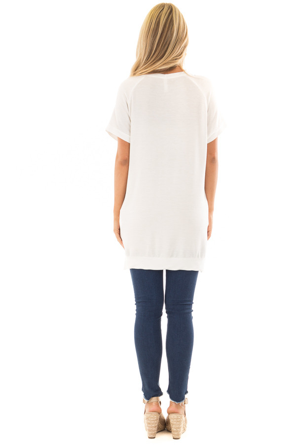 Ivory Crew Neck Tunic with Hidden Pockets back full body