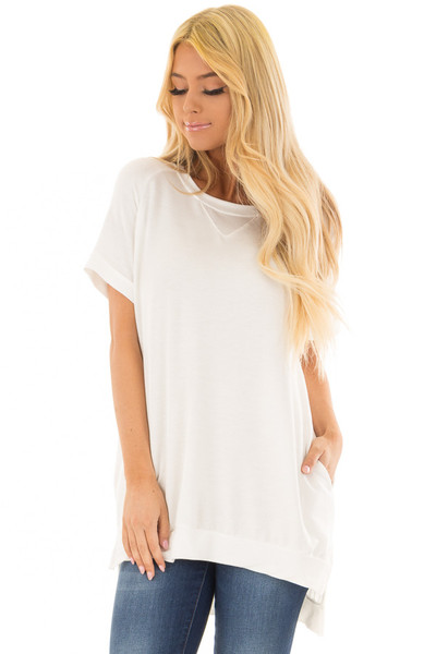 Ivory Crew Neck Tunic with Hidden Pockets front close up