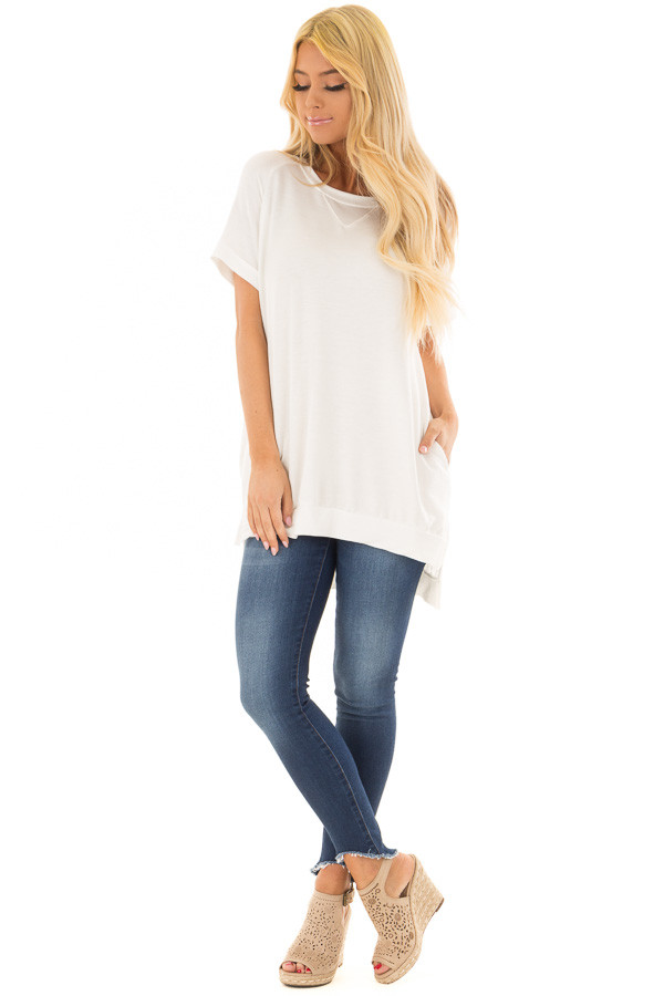Ivory Crew Neck Tunic with Hidden Pockets front full body
