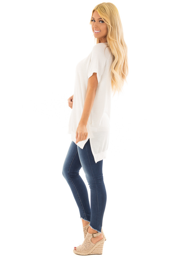 Ivory Crew Neck Tunic with Hidden Pockets side full body