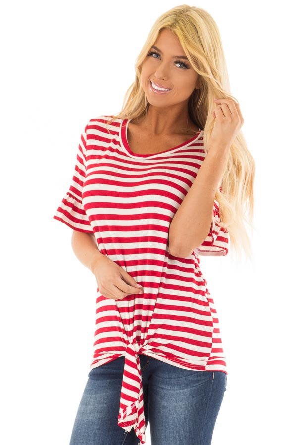 Cherry Red and Ivory Striped Tee with Tie Front Detail front close up
