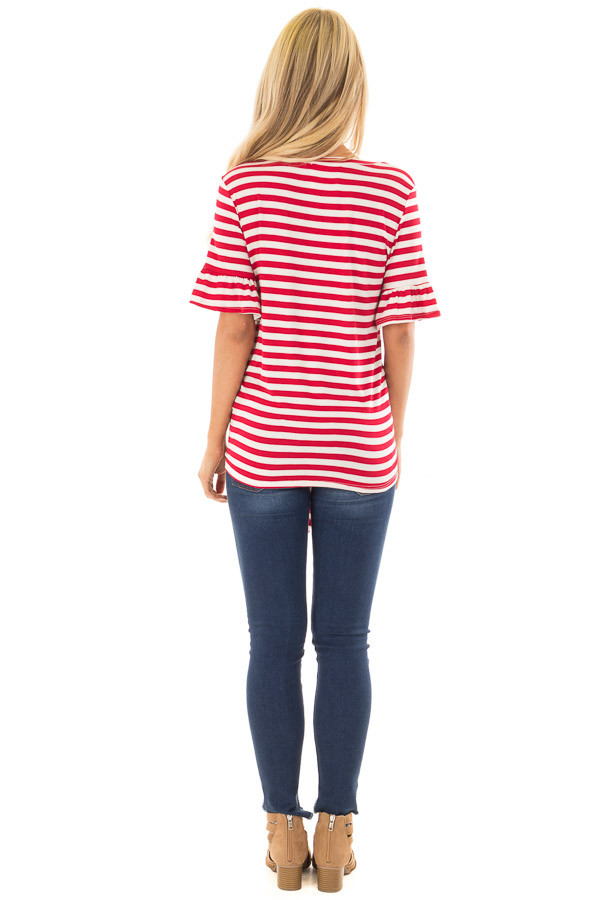 Cherry Red and Ivory Striped Tee with Tie Front Detail back full body
