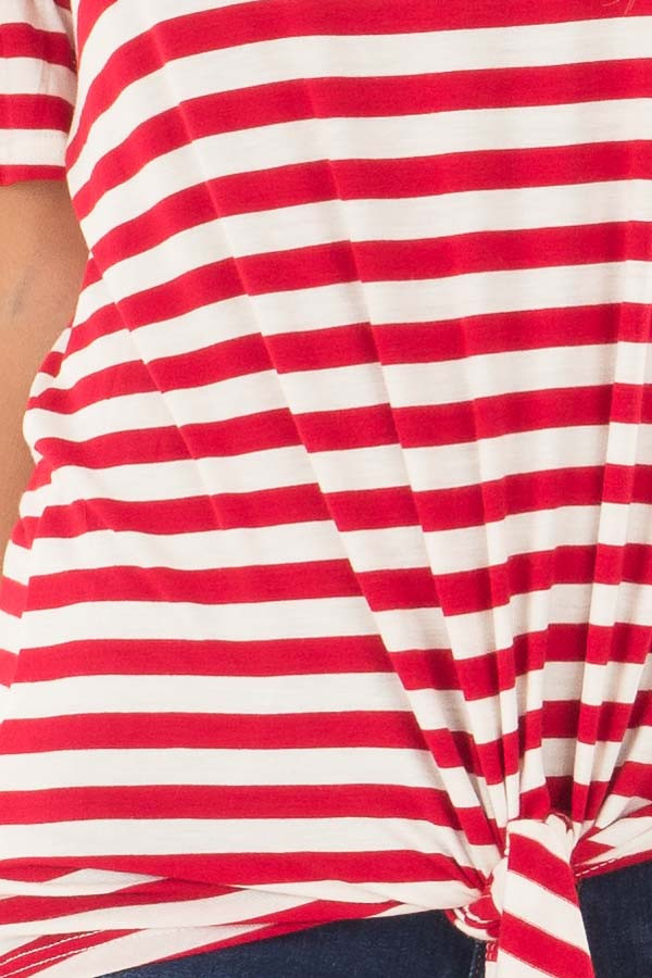 Cherry Red and Ivory Striped Tee with Tie Front Detail detail