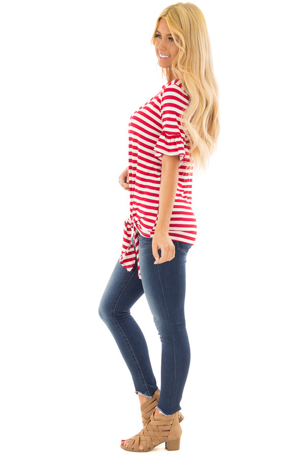 Cherry Red and Ivory Striped Tee with Tie Front Detail side full body