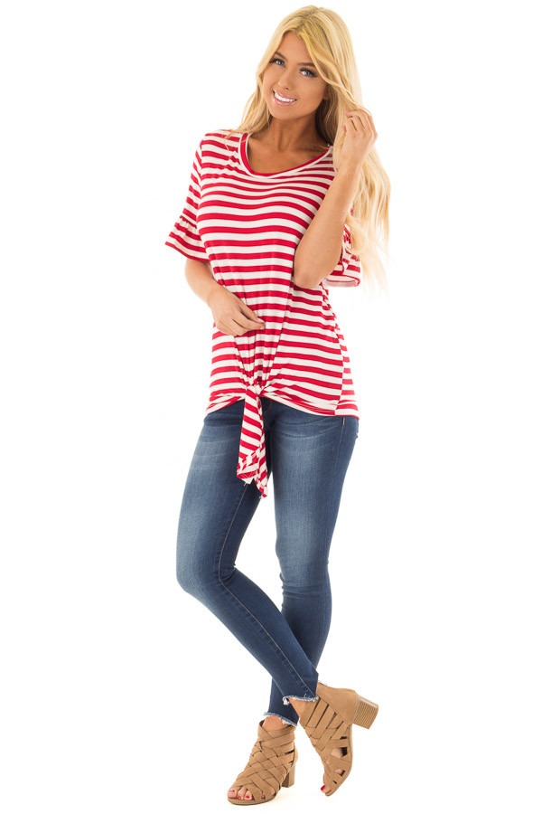 Cherry Red and Ivory Striped Tee with Tie Front Detail front full body