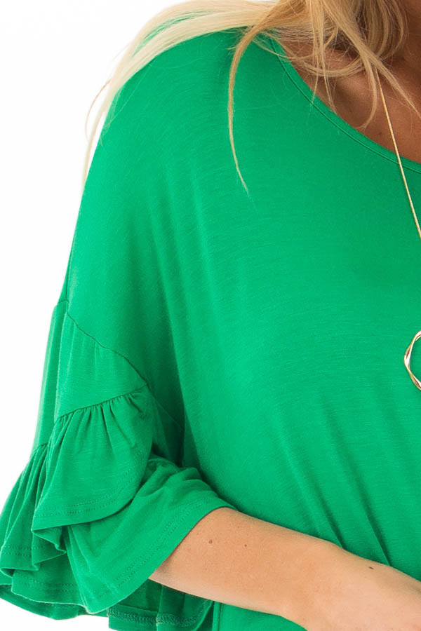 Grass Green Top with Long Tiered Bell Sleeves detail