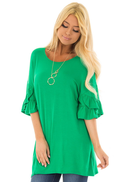 Grass Green Top with Long Tiered Bell Sleeves front close up