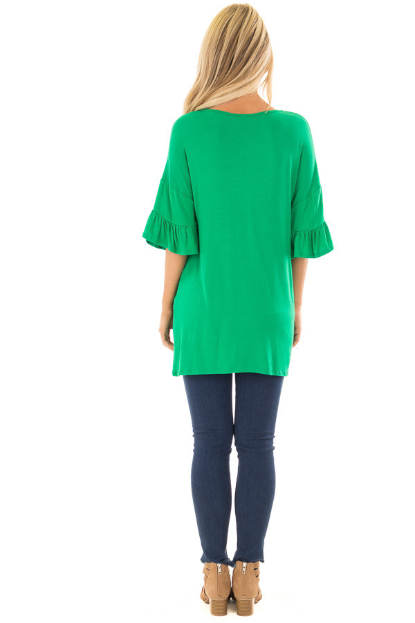 Grass Green Top with Long Tiered Bell Sleeves back full body