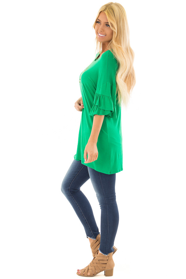 Grass Green Top with Long Tiered Bell Sleeves side full body