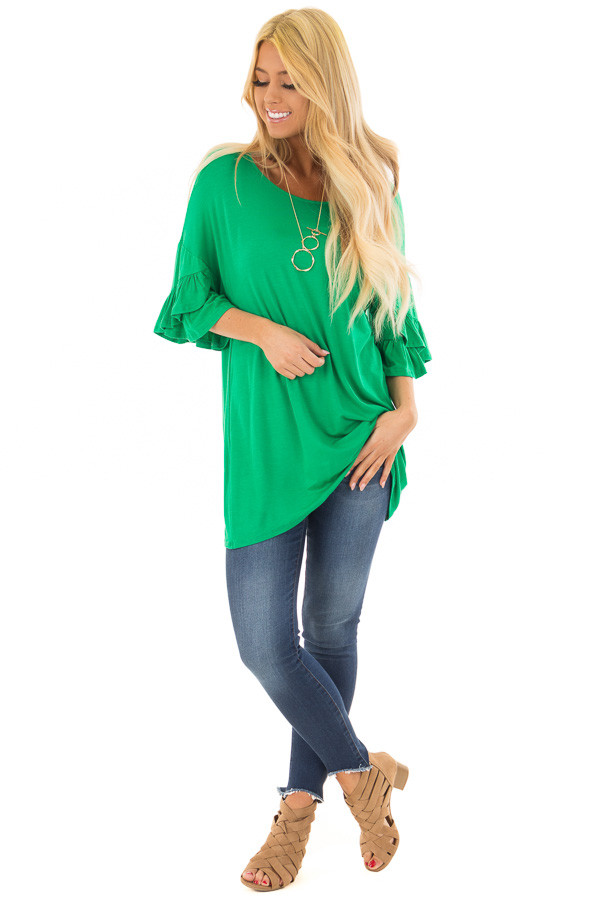 Grass Green Top with Long Tiered Bell Sleeves front full body