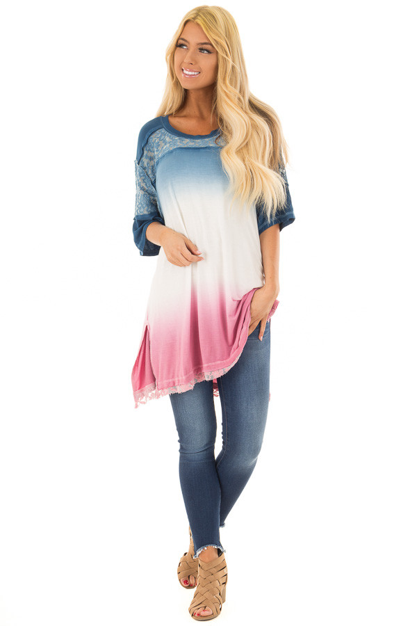 Navy and Rose Ombre Tunic Top with Lace Detail front full body