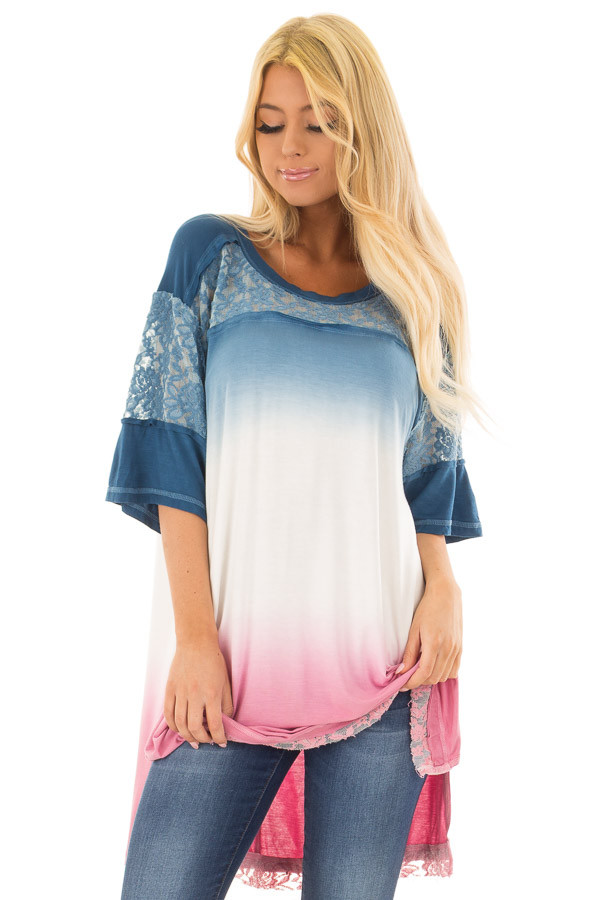 Navy and Rose Ombre Tunic Top with Lace Detail front closeup