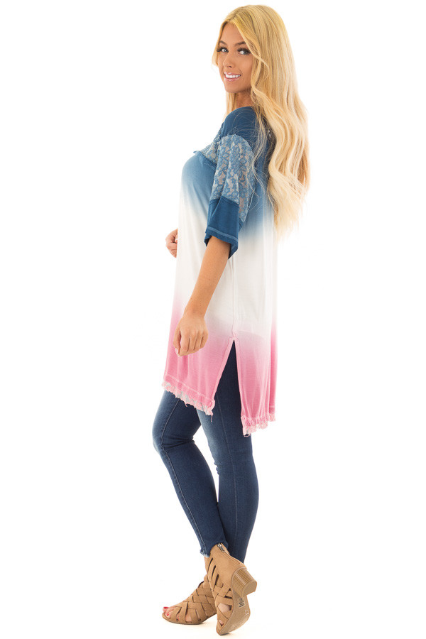 Navy and Rose Ombre Tunic Top with Lace Detail side full body