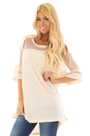 Cream Short Sleeve Top with Sheer Polka Dot Lace Detail front closeup