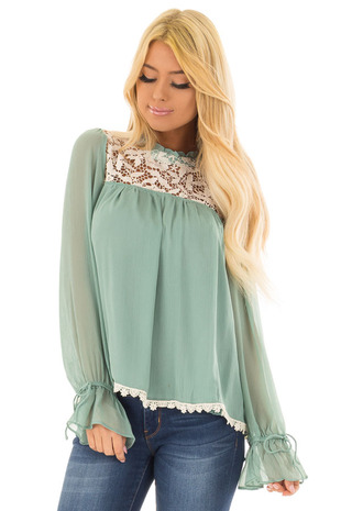 Seafoam Green Blouse with Crochet Details front closeup