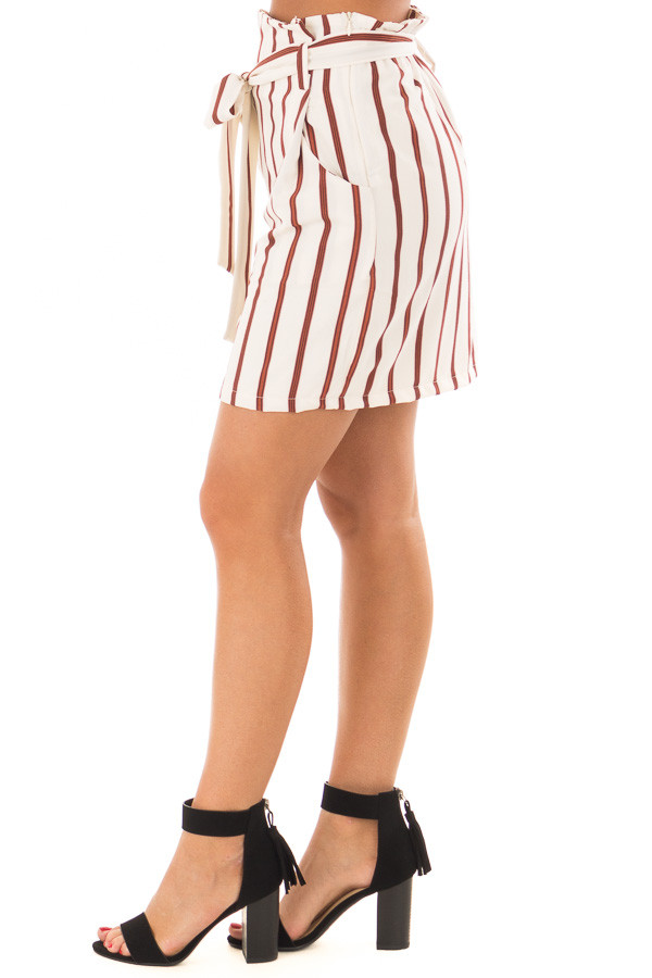 Ivory and Rust Striped Skirt with Waist Tie and Pockets left side