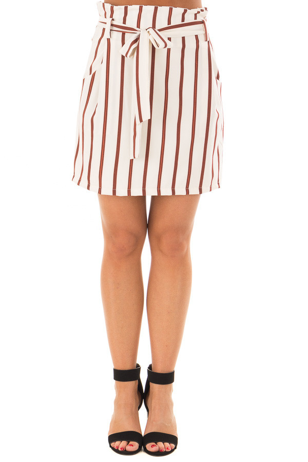Ivory and Rust Striped Skirt with Waist Tie and Pockets front