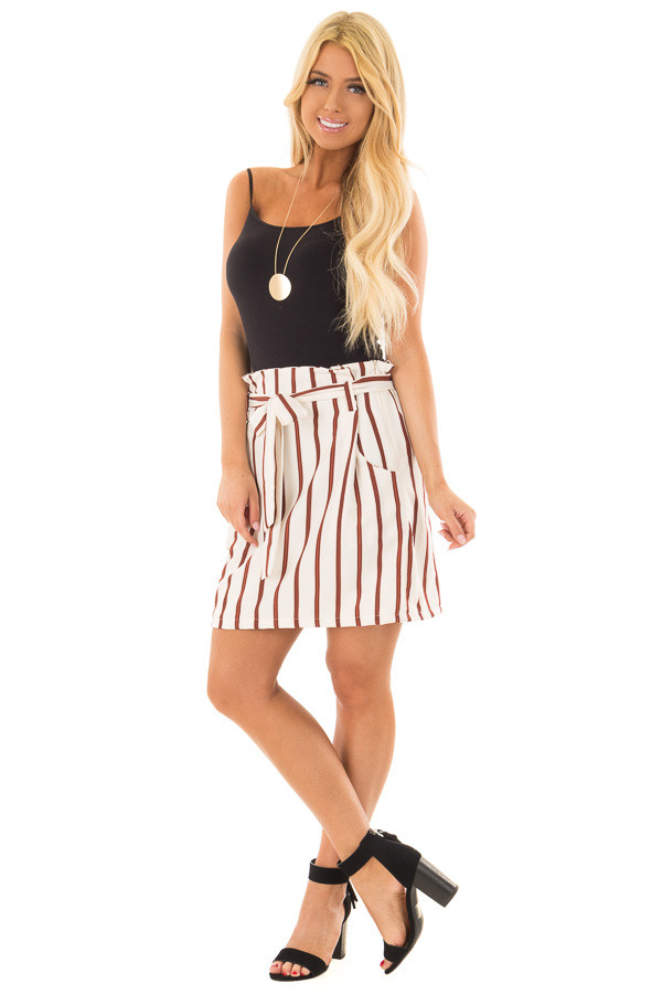 Ivory and Rust Striped Skirt with Waist Tie and Pockets front full body