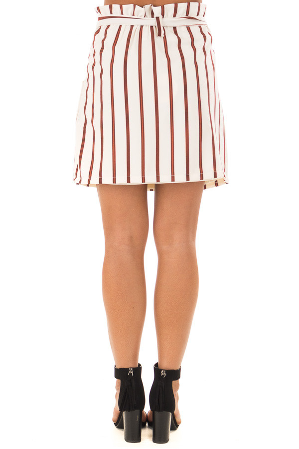 Ivory and Rust Striped Skirt with Waist Tie and Pockets back