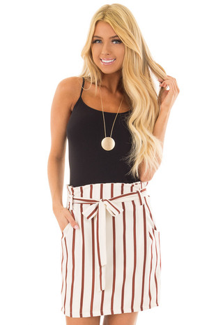 Ivory and Rust Striped Skirt with Waist Tie and Pockets front closeup