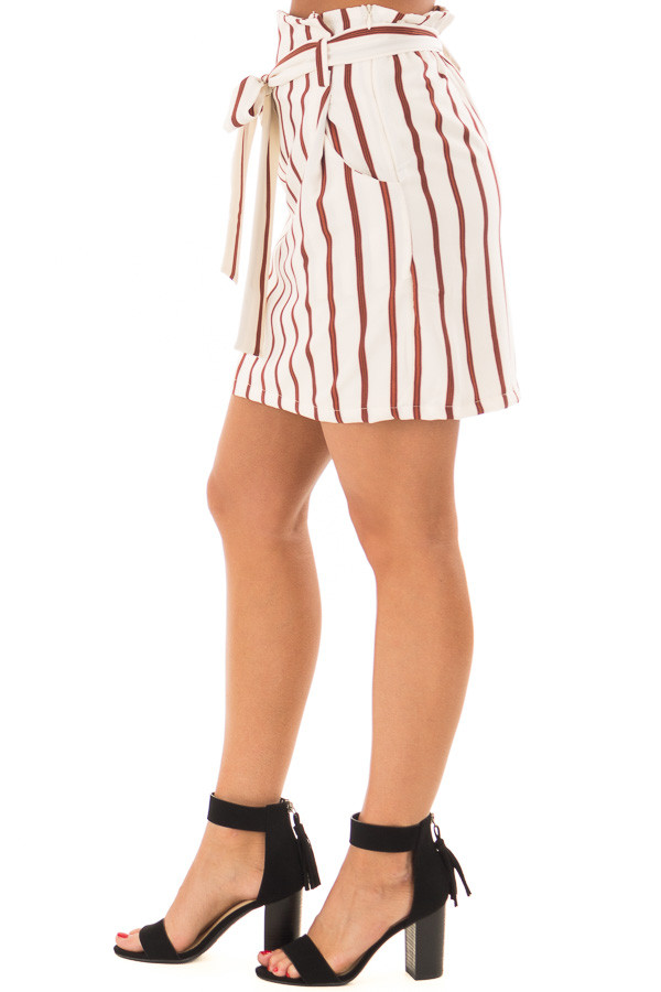 Ivory and Rust Striped Skirt with Waist Tie and Pockets right side