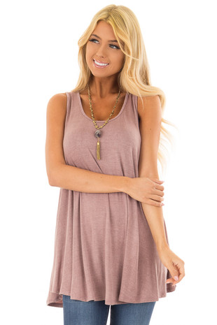 Vintage Mauve Tunic Tank Top with Caged Back front closeup