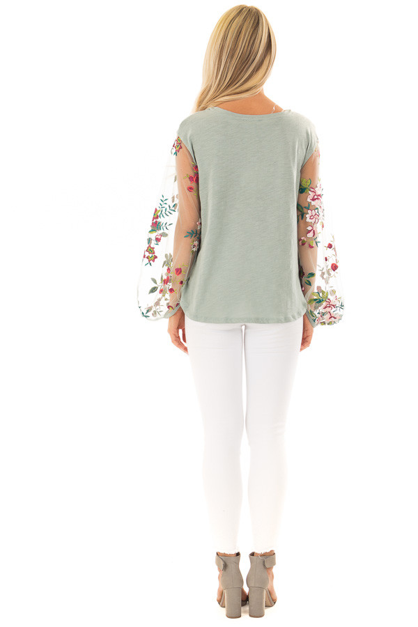Dusty Mint Top with Colorful Sheer Embroidered Sleeves back full body