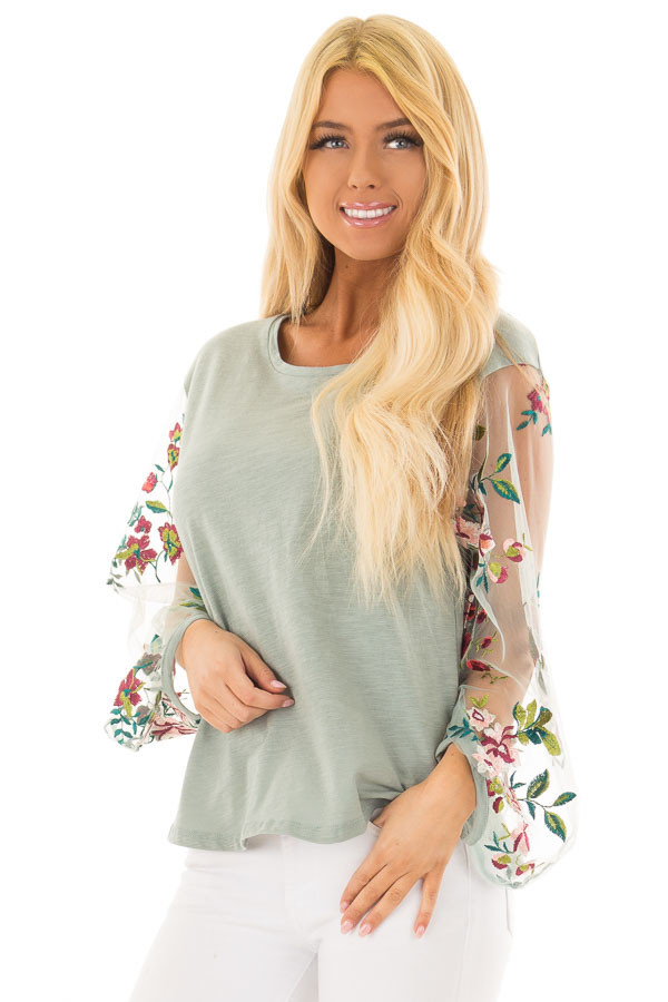 Dusty Mint Top with Colorful Sheer Embroidered Sleeves front closeup