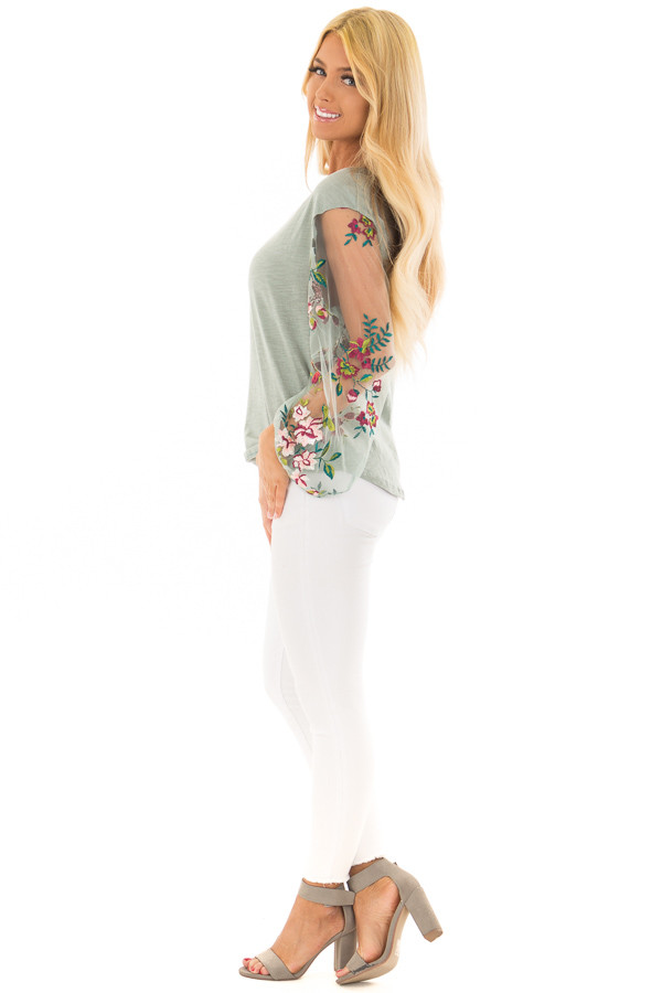 Dusty Mint Top with Colorful Sheer Embroidered Sleeves side full body