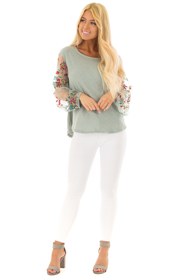 Dusty Mint Top with Colorful Sheer Embroidered Sleeves front full body