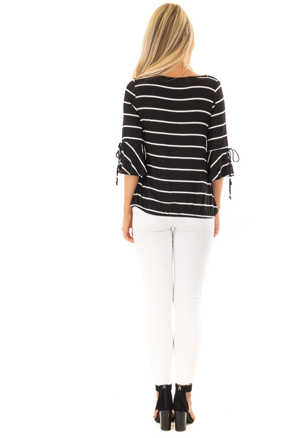 Black and White Stripe Surplice Top with Bell Sleeves back full body