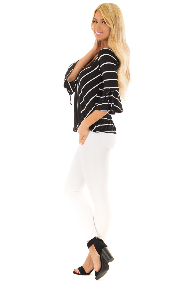 Black and White Stripe Surplice Top with Bell Sleeves side full body