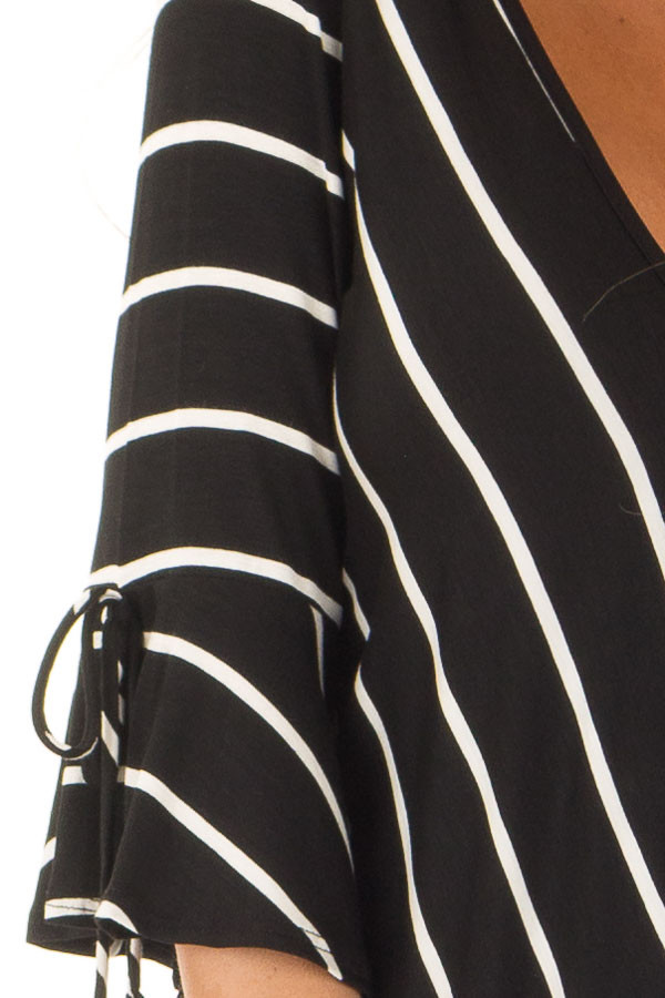 Black and White Stripe Surplice Top with Bell Sleeves front detail