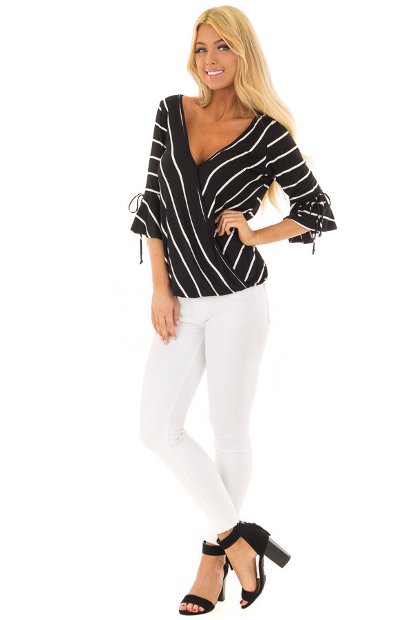 Black and White Stripe Surplice Top with Bell Sleeves front full body