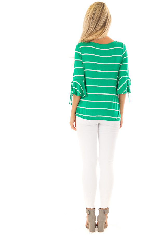 Kelly Green and White Stripe Surplice Top with Bell Sleeves back full body