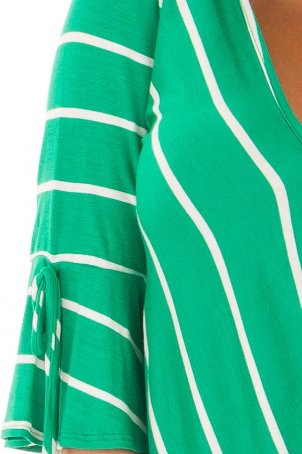 Kelly Green and White Stripe Surplice Top with Bell Sleeves front detail