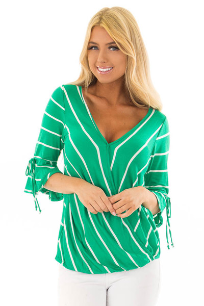 Kelly Green and White Stripe Surplice Top with Bell Sleeves front closeup