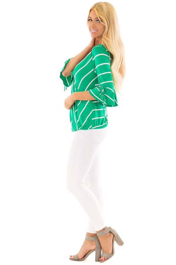 Kelly Green and White Stripe Surplice Top with Bell Sleeves side full body