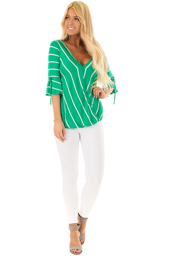 Kelly Green and White Stripe Surplice Top with Bell Sleeves front full body