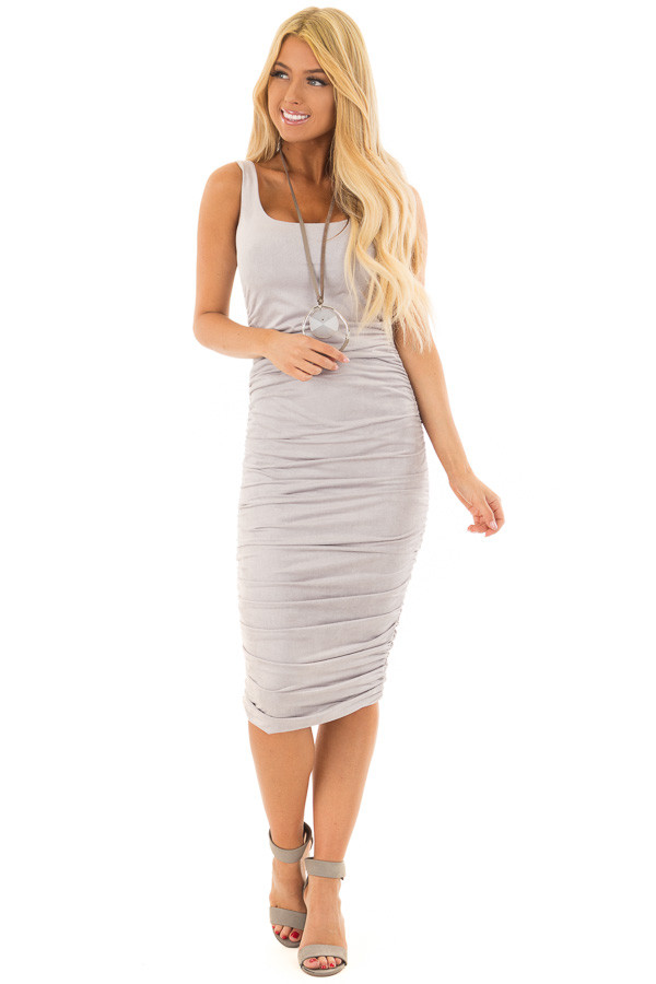 Heather Grey Suede Ruched Midi Dress front full body